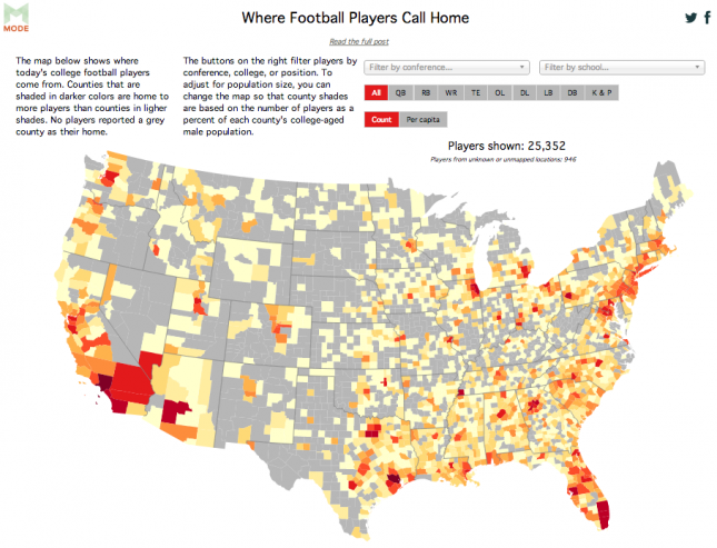 Interactive Map Reveals Where Football Players Call Home