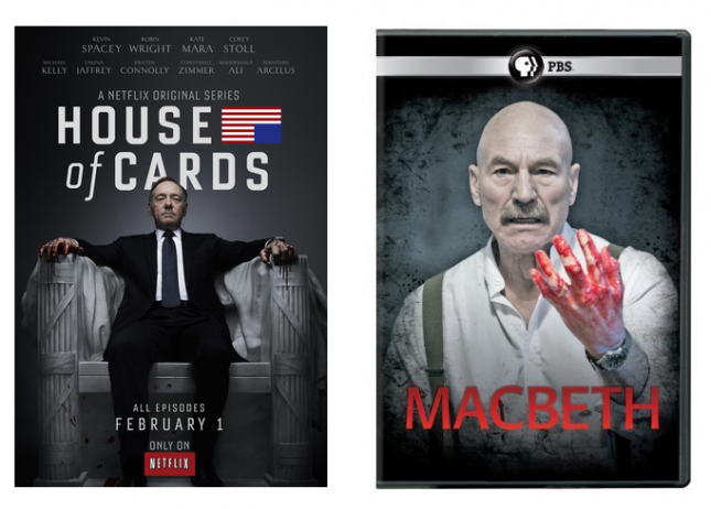 Compare the covers from Netflix's House of Cards with PBS' Macbeth from Great Performances