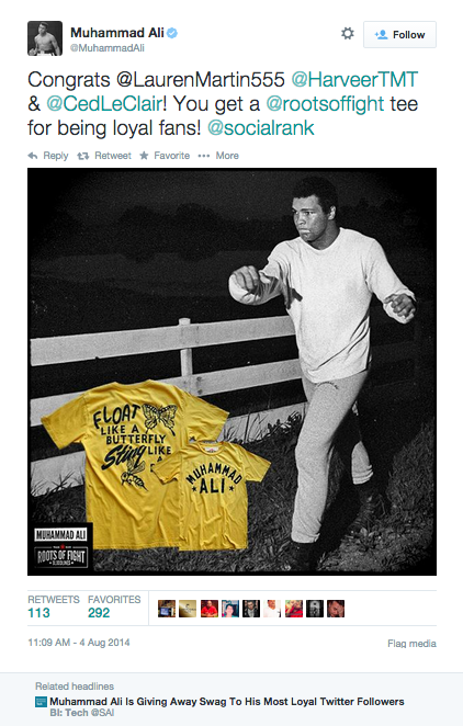 Muhammed Ali's promotion using SocialRank data scored him plenty of goodwill among fans.