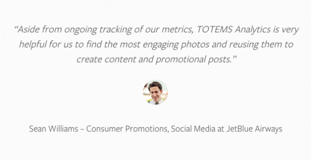 JetBlue was very pleased with Totems' work utilizing their Instagram data to create #JetBlueSoFly