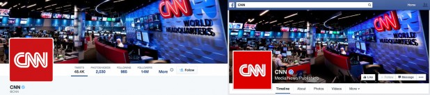 CNN's Twitter and Facebook pages are almost identical.