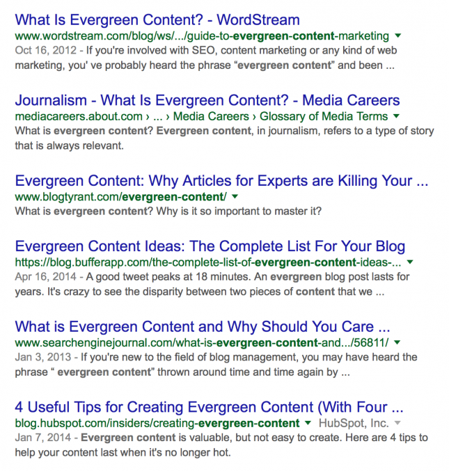 serps for evergreen content