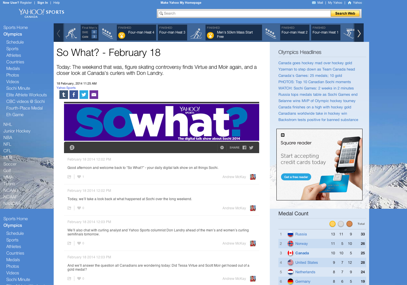 So What    February 18   Yahoo Sports Canada