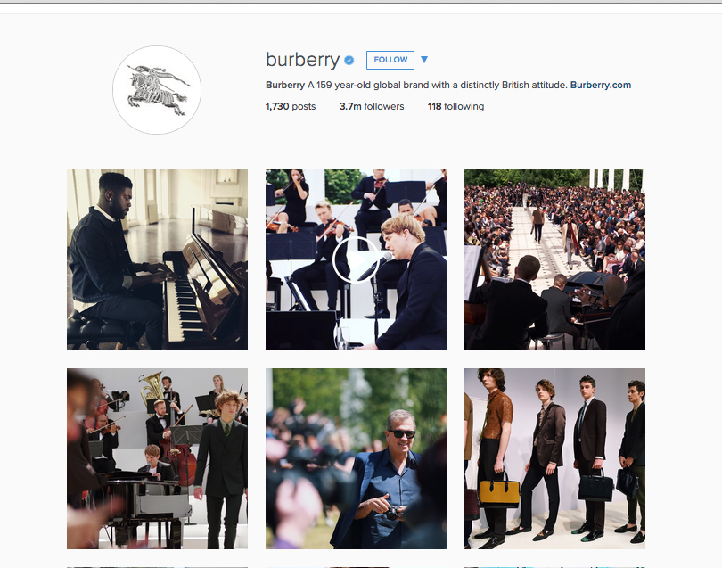 A glimpse of engaging images on Burberry's Instagram.