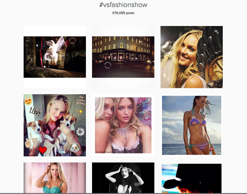 A screenshot of the hashtag used by Victoria's Secret during it's annual fashion show. Note it's high engagement levels.
