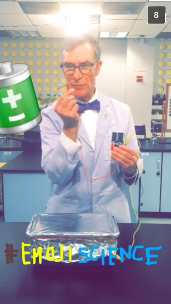 General Electric shares brief Snapchat videos of Bill Nye with their followers
