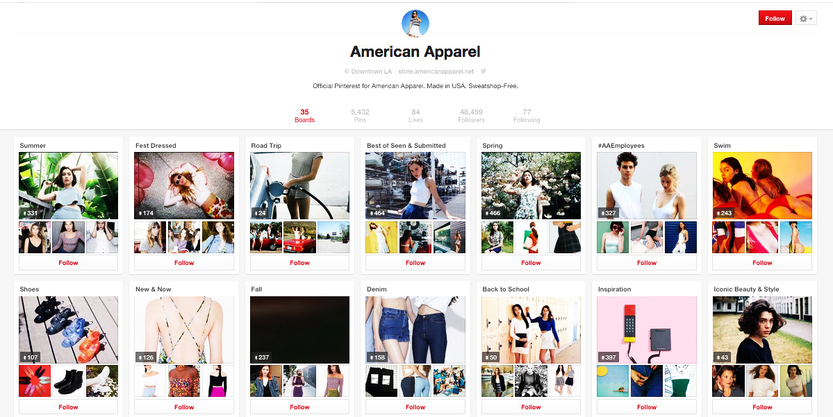 American Apparel curates its content across a number of boards.