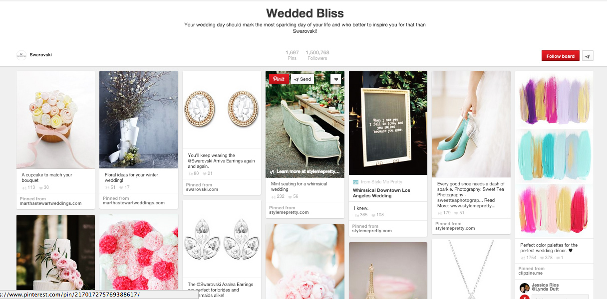 Swarovski's Wedding Bliss shows all of the above mentioned elements of well-crafted board.