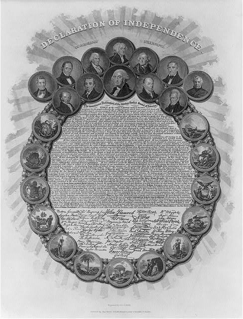 The first 12 U.S. presidents are seen in this engraving of the Declaration of Independence, circa 1850. Courtesy of the Library of Congress, LC-USZ62-41929